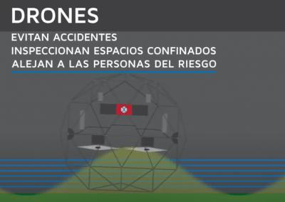 Drones aliados con la prevención evitan accidentes en espacios confinados.