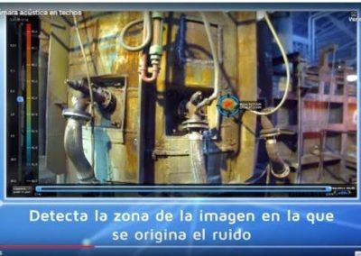 Visualización con cámara acústica de absorción o difusión de ruido en techo