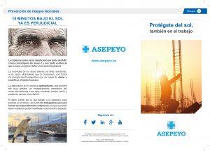Tríptico de Asepeyo de ayuda a empresas en la toma de medidas para proteger a los trabajadores expuestos al sol