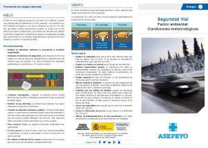 Tríptico elaborado por Asepeyo sobre las condiciones metereológicas en seguridad vial
