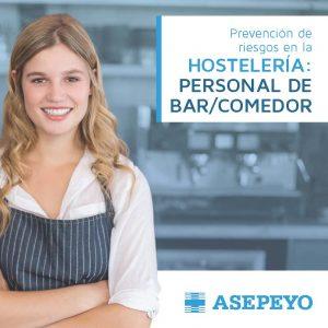 Folleto de Asepeyo de ayuda a las empresas de hostelería para un adecuadocontrol del riesgo del personal de bar/comedor