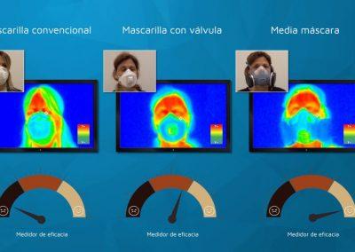 Análisis del funcionamiento de una mascarilla de protección con termografía