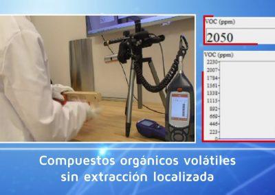 Sistema PIMEX. Comprobación de la eficacia de la extracción localizada (polvo y COV)